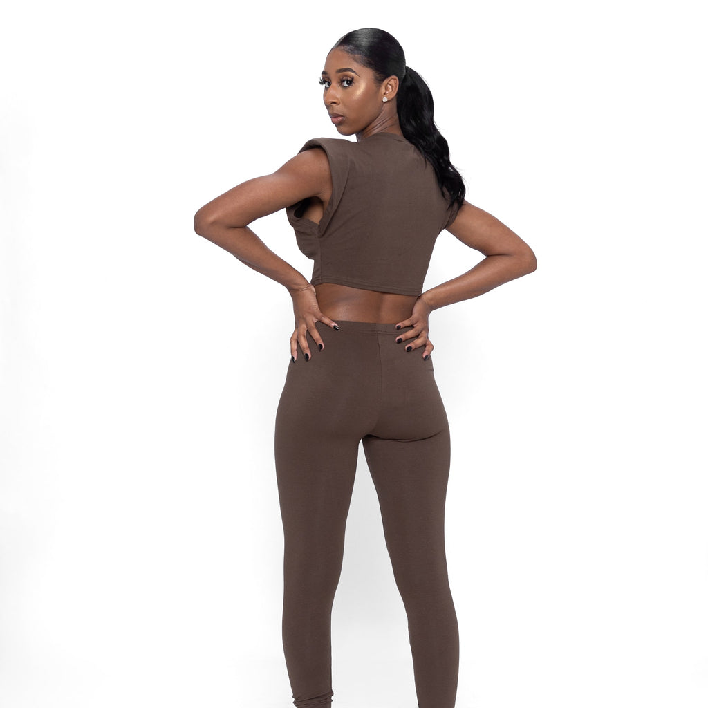 Shoulder Pad Legging Set In Mushroom (Brown)