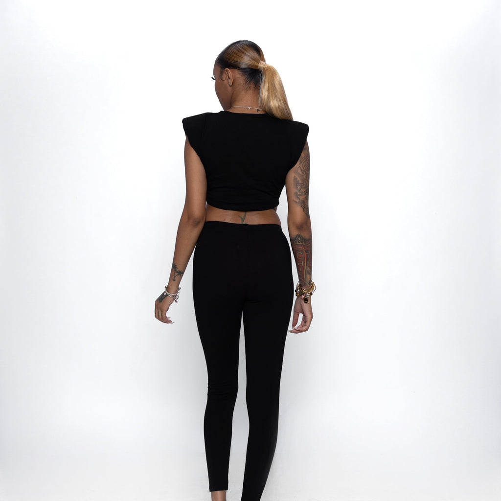 Shoulder Pad Legging Set In Black