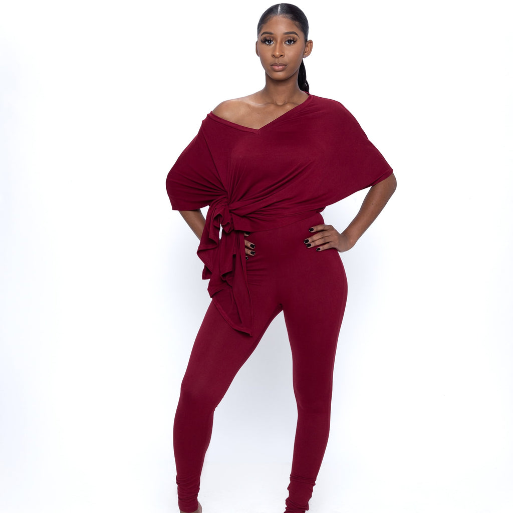 V Neck Oversized Top & Leggings In Cranberry
