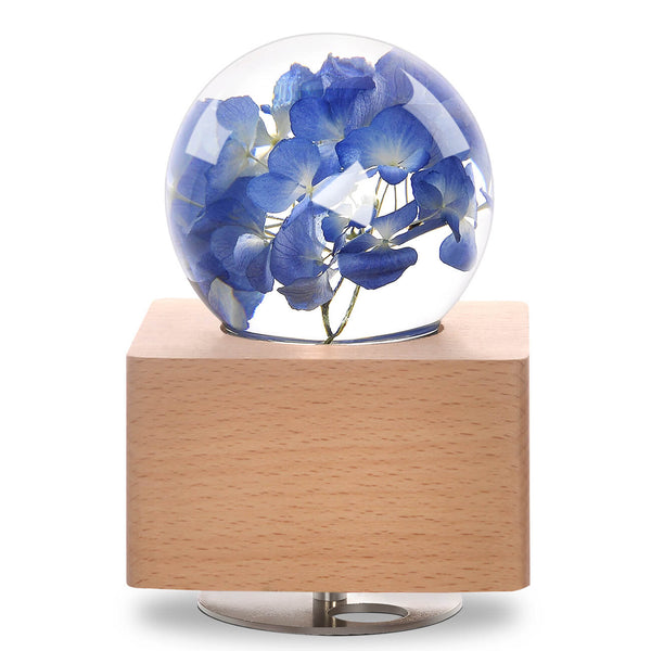 Blue Hydrangea Crystal Ball Wooden Music Box with LED Mood Light