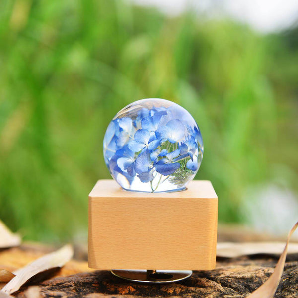 Crystal Ball  wooden Music Box with LED Mood Light