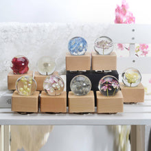 Load image into Gallery viewer, wooden music box Blue Hydrangea Crystal Ball Wooden Music Box with LED Mood Light lightue