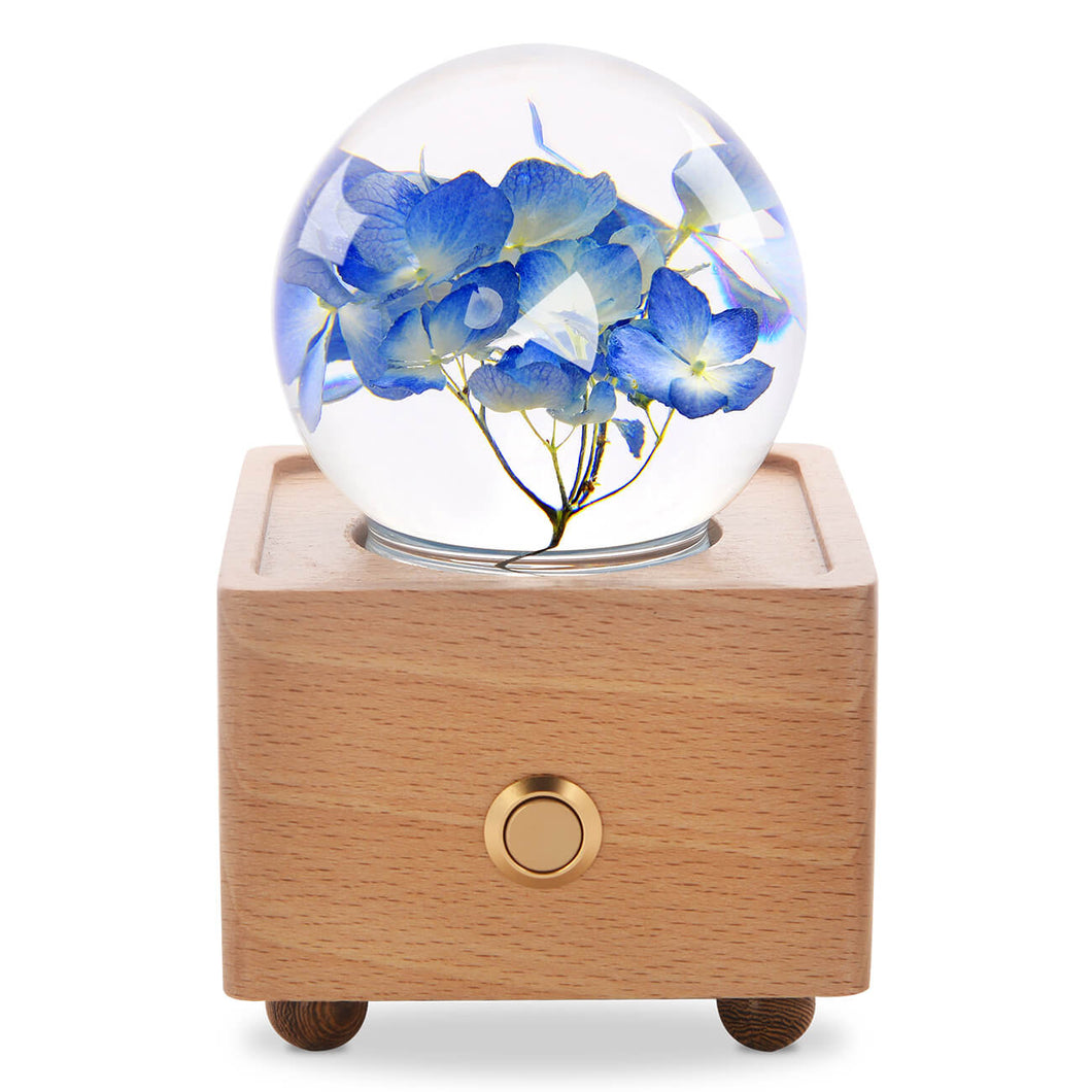 cool gifts for teens Blue Hydrangea Crystal Ball Bluetooth Speaker with LED Mood Light lightue