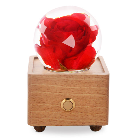 preserved rose Red Rose Crystal Ball Bluetooth Speaker with LED Mood Light