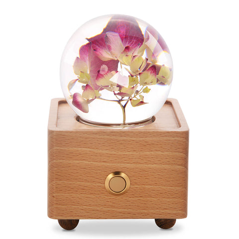4 year anniversary gift Red Hydrangea Crystal Ball Bluetooth Speaker with LED Mood Light
