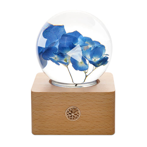 top gifts for women Blue Hydrangea Crystal Ball LED Night Light