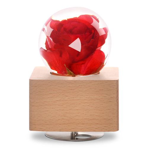 real rose Red Rose Crystal Ball Music Box with LED Mood Light lightue