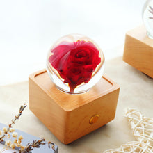 Load image into Gallery viewer, preserved rose Red Rose Crystal Ball Bluetooth Speaker with LED Mood Light lightue