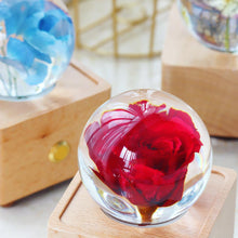 Load image into Gallery viewer, real rose Red Rose Crystal Ball Music Box with LED Mood Light lightue