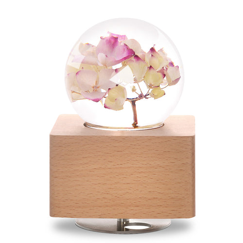 Red Hydrangea Crystal Ball Wooden Music Box with LED Mood Light lightue