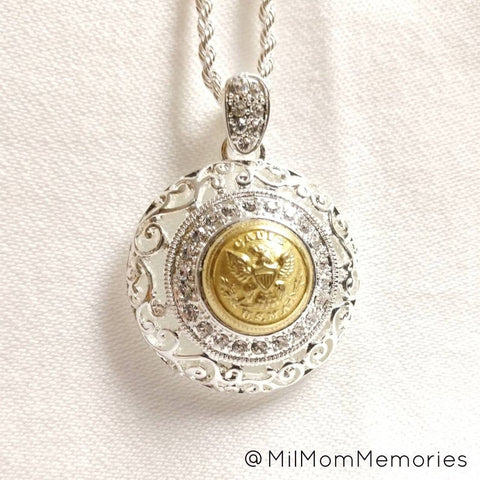 1860 Embellished Antique USMA Cadet Small Button Pendant Necklace