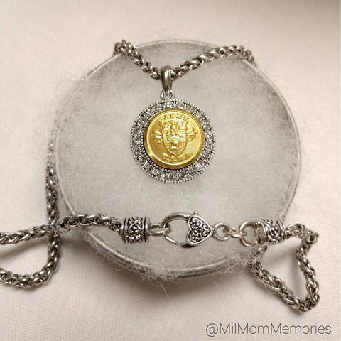 USMA Antique-Finish Pendant Necklace with Ornate Clasp