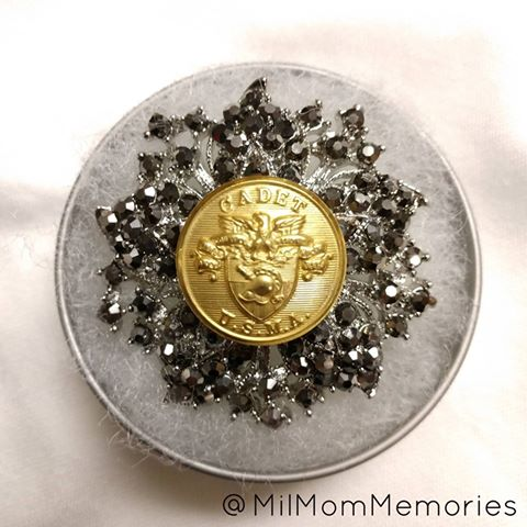 USMA Cadet Large Button Brooche Dark Rhinestone