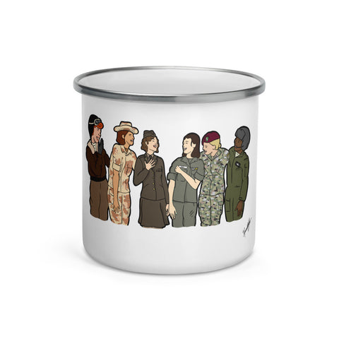 """Ode to the Trailblazers"" Art by Hannah Lamb, Centered Large Image, Enamel Mug"