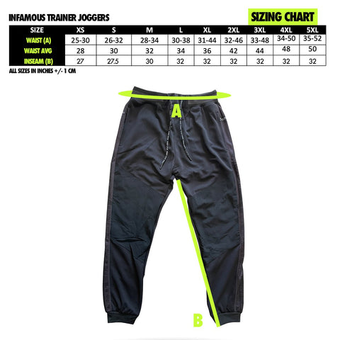 Infamous Trainer Joggers Paintball Pant sizing info