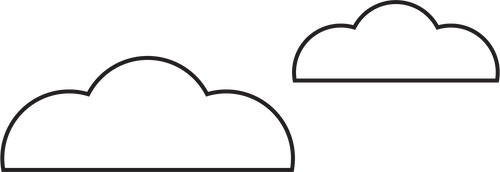 Black line drawing of stylized clouds