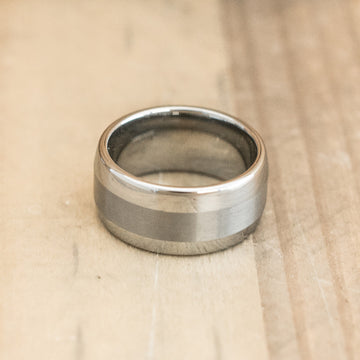 10mm Domed Tungsten Carbide Ring with a Brushed Center Stripe