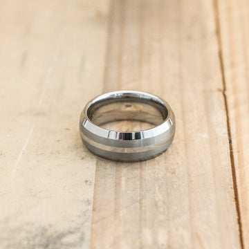 8mm Domed Tungsten Carbine Ring with a Brushed Double Center Stripe