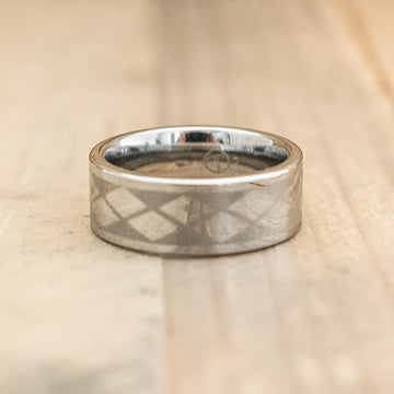 8mm Tungsten Carbide Ring with an Argyle Laser Design