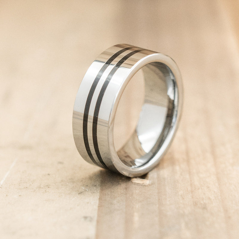 8mm Polished Tungsten Ring with Ceramic Inserts