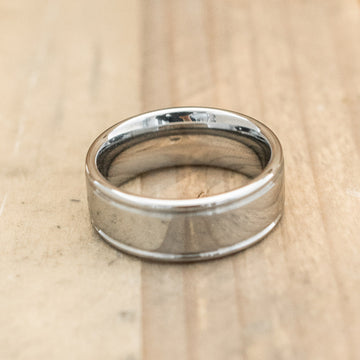 8mm Tungsten Carbide Flat Double Grooved Ring