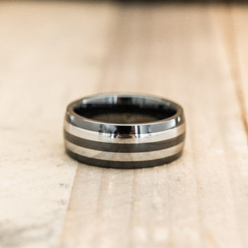 8mm Ceramic & Tungsten Carbide Half Round Striped Ring