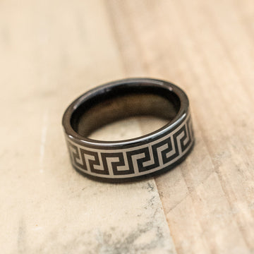 8mm Black Tungsten Carbide Greek Key Design Ring