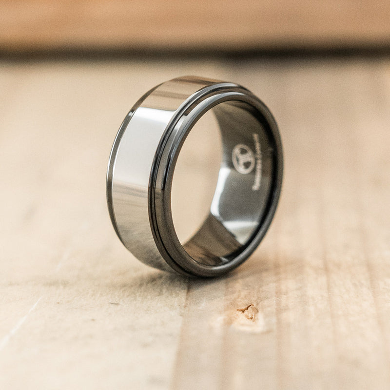 9mm Polished Tungsten & Ceramic Ring