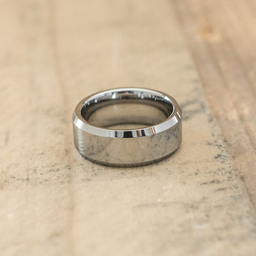 8mm Tungsten Carbide Beveled Ring