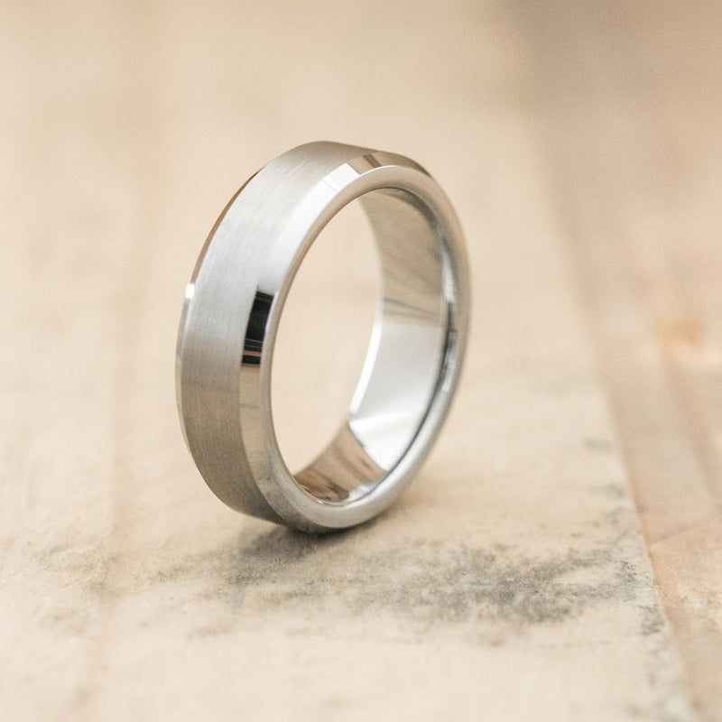 6mm Tungsten Carbide Satin Beveled Ring