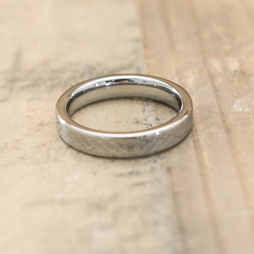 4mm Tungsten Carbide Band Laser Engraved with an Infinity Design
