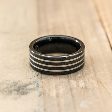 8mm Black Tungsten Carbide Ring with Three Stripes
