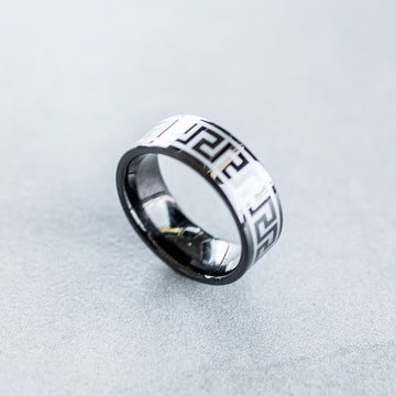 8mm Tungsten Carbide Ring with a Laser Engraved Greek Key Design