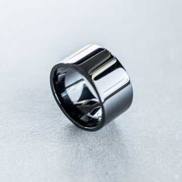 12mm Black Tungsten Carbide Flat Pipe Cut Ring