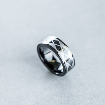 8mm Black Tungsten Carbide Ring with Laser Argyle Design