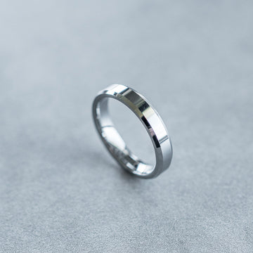 4mm Tungsten Carbide Satin Beveled Ring