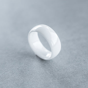 8mm White Tungsten Ceramic Ring