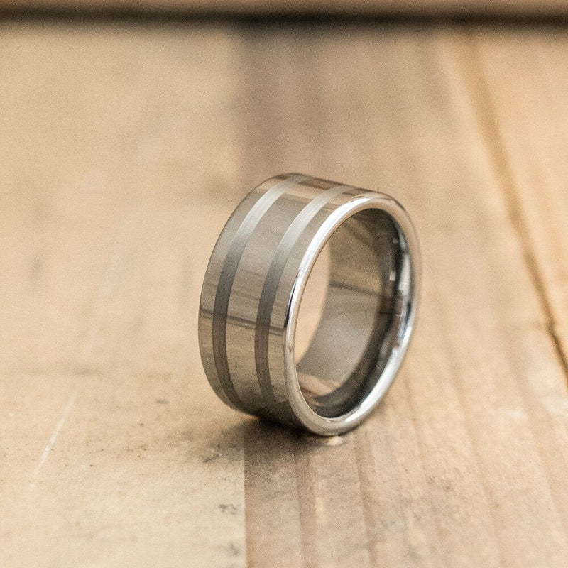 10mm Double Brushed Stripe Tungsten Carbide Ring