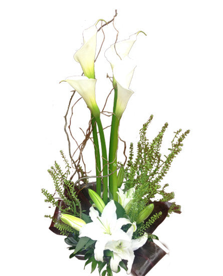 EF104 - Lilies in White Flower Arrangement - Euro Flowers Mississauga ON
