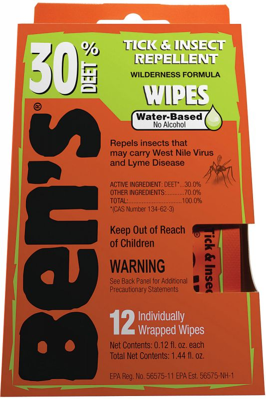 Ben's Wipes 30% Deet 12pk