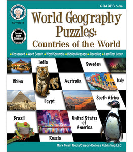 World Geography Puzzles: Countries of the World, Grades 5 - 12