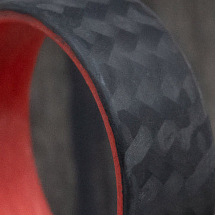 Side Cut Carbon Fiber Men's Wedding Band With 14k Gold Sleeve