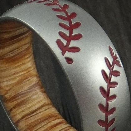 Cobalt Chrome Double Stitch Baseball Men's Wedding Band With Hardwood Sleeve