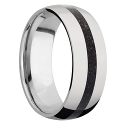 Ring with Black Dinosaur Bone Inlay
