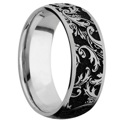 Ring with Black Leaf Pattern