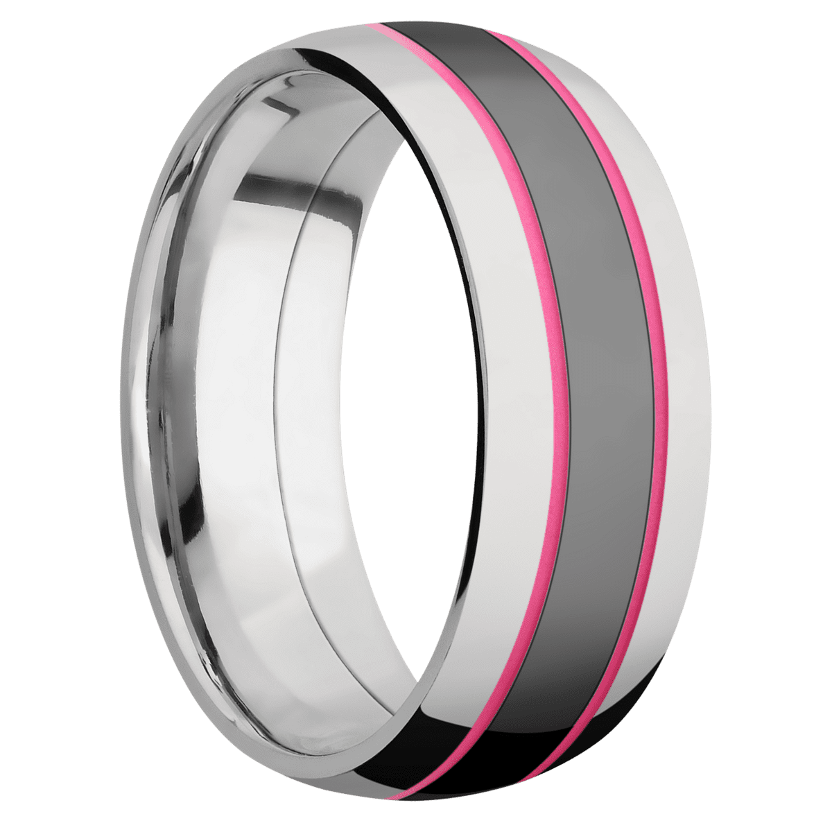 Ring with Bright Pink Cerakote Inlay