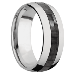 Ring with Black Carbon Fiber Inlay