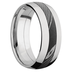 Ring with Damascus Steel Inlay