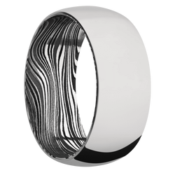 Ring with Marble Damascus Steel Sleeve