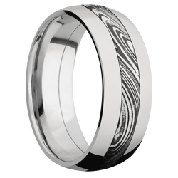 Ring with Marble Damascus Steel Inlay